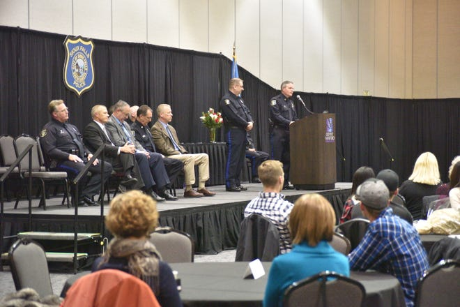 Sioux Falls Police Chief Matt Burns introduces six who retired from the department at a retirement ceremony Friday, Oct. 11.