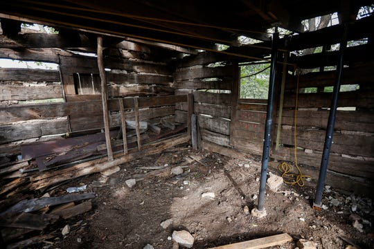 The first floor of Judge Elisha Headlee's log cabin in Ebenezer, which can be dated back to 1846. The Ebenezer Historical Society is working to dismantle and restore the historic structure.