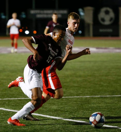 Missouri State men's soccer player Ian Jones, No. 17, pursues the ball during a match against the Bradley Braves in Springfield, Missouri, on Wednesday, Oct. 9, 2019.