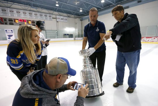 St. Louis Blues fans got the chance to take photos with the Stanley Cup as it made several stops in Springfield on Thursday, Oct. 10, 2019.