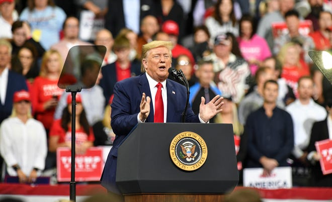 Donald Trump speaks Thursday, Oct. 10, 2019, at the Target Center in Minneapolis.