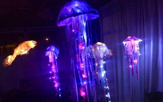 Handmade jellyfish lanterns at a previous Crooked Lighthouse Lantern Festival.