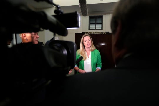 Assistant State Attorney Georgia Cappleman speaks to reporters Friday after a Leon County jury convicted Sigfredo Garcia in the 2014 murder of Dan Markel.