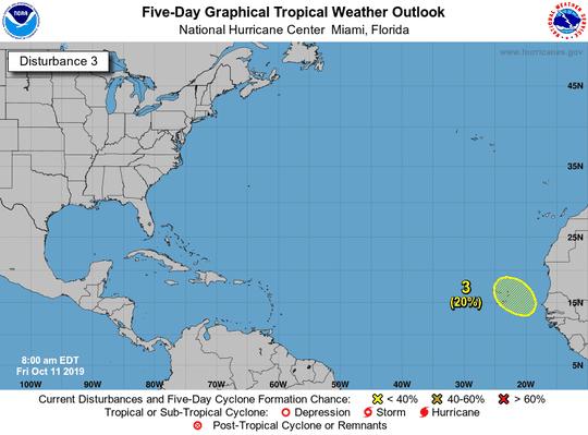 Tropics 8 a.m. Oct. 11, 2019