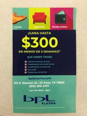 "A BPL flyer advertises $300 monthly compensation in Spanish and requirements for Mexican donors, including presenting a ""laser visa"" border crossing card."