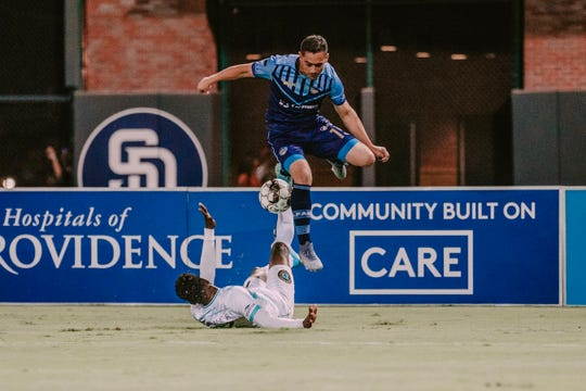 James Kiffe leaps for a ball during El Paso's 1-1 draw against Austin Thursday night at Southwest University Park
