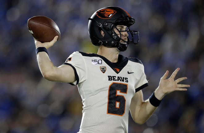 Jake Luton. a former Ventura College star, became the fourth Oregon State player in history to account for six touchdowns in the Beavers' 48-31 win over UCLA at the Rose Bowl on Oct. 5.