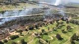 Fire erupted Friday morning in the Santa Clara River near Ventura.