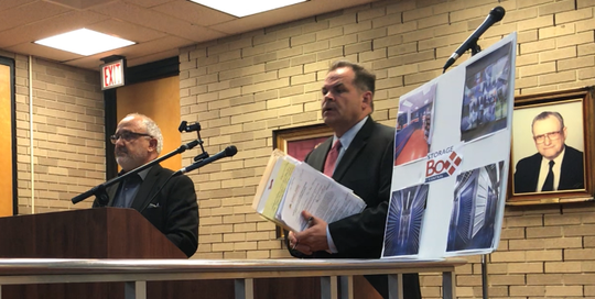 Vineland Ventures LLC principal Richard P. Monteforte and attorney Brian D. Lozuke testify before the Vineland Planning Board Wednesday night on their self-storage proposal for a former supermarket at 215 N. Delsea Drive.