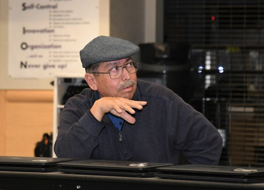 Grandparent Juan Lopez asks questions at VUSD's Local Control Accountability Plan Community Forum at Ridgeview Middle School on Oct. 10, 2019. The LCAP dictates how millions will be spent over three years to fund school programs and services.
