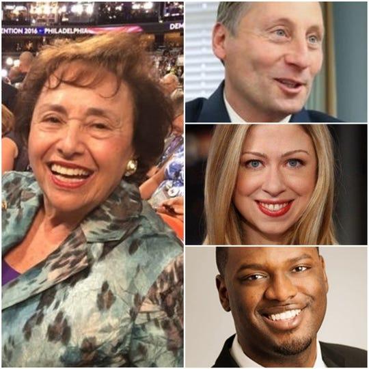 U.S. Rep. Nita Lowey is retiring. On right, from top, Rob Astorino, Chelsea Clinton and Mondaire Jones.