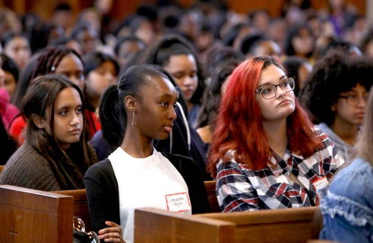 Yorktown High School seniors from left, Dayanavi Nunez, Samantha Adjei and Kaitlyn Folchetti attend the inaugural Westchester County International Day of the Girl conference at Manhattanville College in Purchase Oct. 11, 2019. Over 400 students from 20 school districts across Westchester attended the event, titled Taking Charge of Your Future. It was hosted by the Westchester County Youth Bureau in conjunction with the Women's Leadership Institute at Manhattanville and several other groups to inspire young women to take an active role in their personal development and their future.