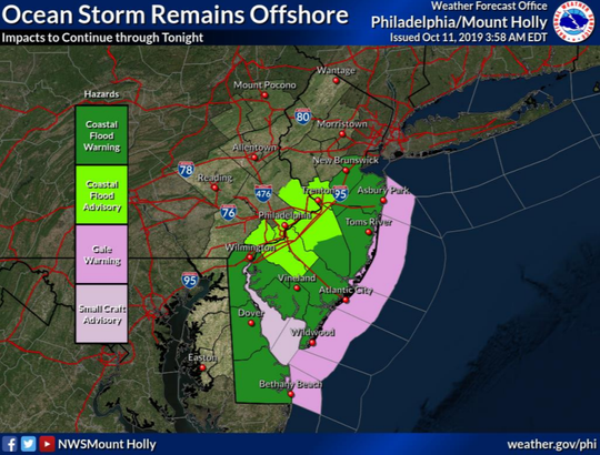 This NOAA graphic shows the active warnings and advisories for a coastal storm on Friday, Oct. 11.