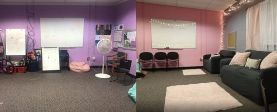Before and after photos of the girls room at the PAL.