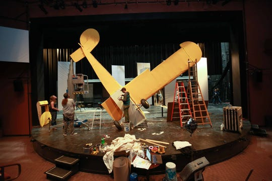 "Set designers build a replica of a crashed plane for the upcoming play ""One November Yankee"" at the Delaware Theatre Company, starring Harry Hamlin and Stefanie Powers."