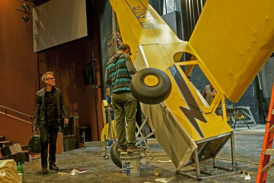 "Harry Hamlin watches a set designer put finishing touches on a replica crashed plane on the stage of the Delaware Theartre Company where he will be starring in ""One November Yankee"" at the Delaware Theartre Company alongside Stefanie Powers October 23 - November 10, 2019."