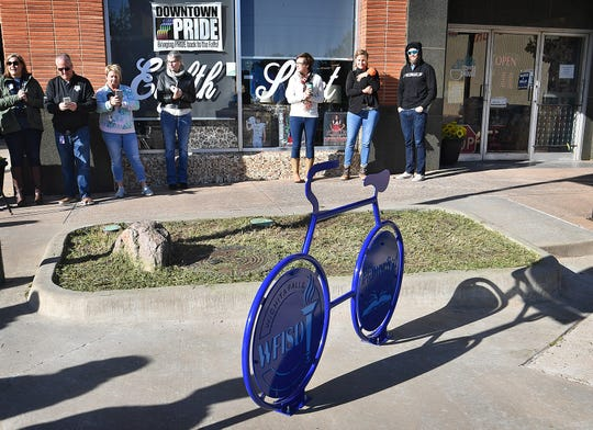 The newest bike rack in downtown Wichita Falls is located at Eighth Street and Indiana Avenue, next to the 8th Street Coffee House.
