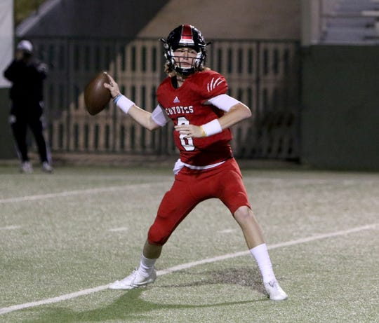 Wichita Falls High's Zy Gravitt passes against Canyon Randall Thursday, Oct. 10, 2019, at Memorial Stadium.