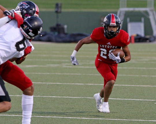 Wichita Falls High's Jullian Carrilo runs for a few yards against Canyon Randall Thursday, Oct. 10, 2019, at Memorial Stadium.