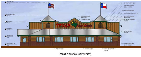 A sketch of the building's front, and additional details and dimensions, were presented to the Board of Zoning Appeals on Thursday.