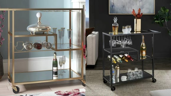 Display your favorite drinks and glasses on this stylish cart.