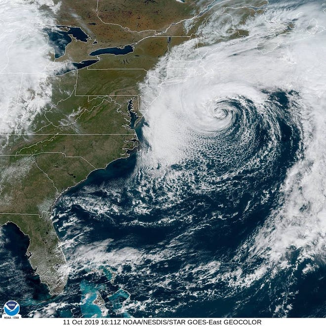 A satellite image shows Subtropical Storm Melissa swirling off the coast of New England on Friday, October 11, 2019.