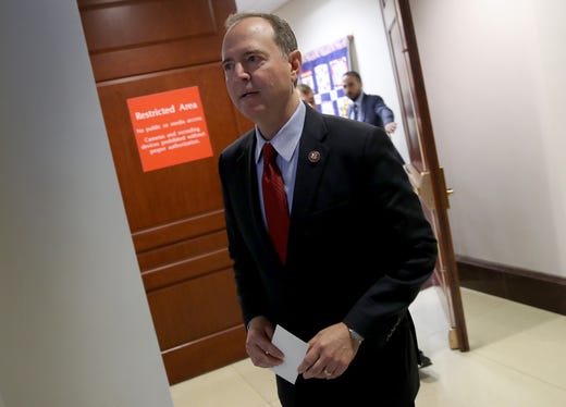 Rep. Adam Schiff (D-CA), Chairman of the House Select Committee on Intelligence Committee arrives at a press conference at the U.S. Capitol on Oct. 8, 2019 in Washington, DC. Schiff spoke on reports that the Trump administration has blocked the testimony of U.S. Ambassador to the European Union Gordon Sondland in the House impeachment inquiry.