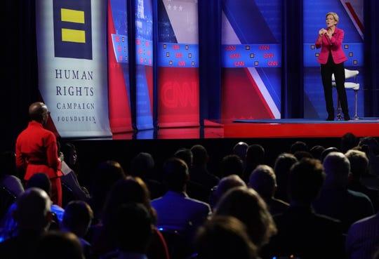 Sen. Elizabeth Warren at the LGBTQ town hall in Los Angeles on Oct. 10, 2019.