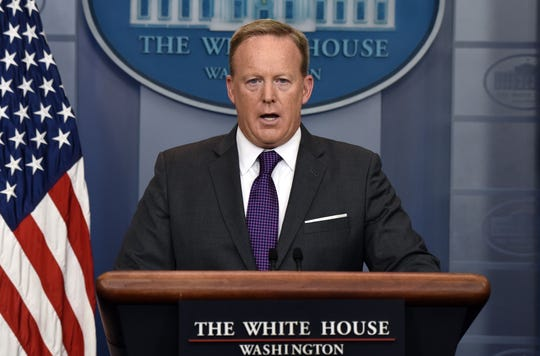 Sean Spicer, seen here during his tenure as White House press secretary, hosts a program on Trump-supporting network Newsmax.