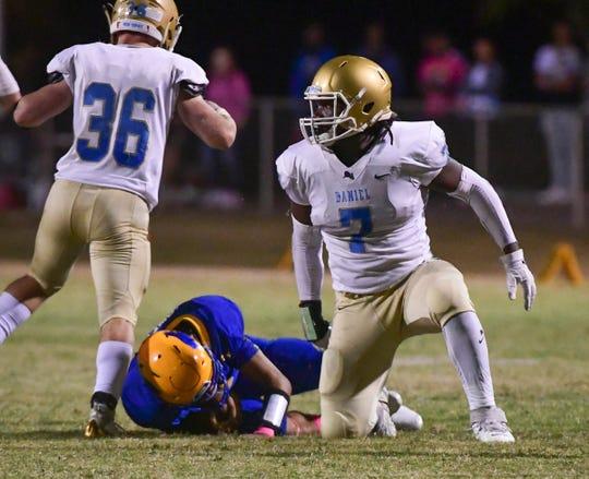 DW Daniel senior Jared Kirksey(7) tackled Wren senior Joe Owens(1) during the second quarter at Wren High School in Piedmont Friday, October 11, 2019.