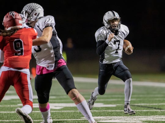 Mike Goodall scored both Toms River East touchdowns. Toms River East football squeaks by Neptune 14-13 to stay unbeaten on October 11, 2019 in Neptune, NJ.