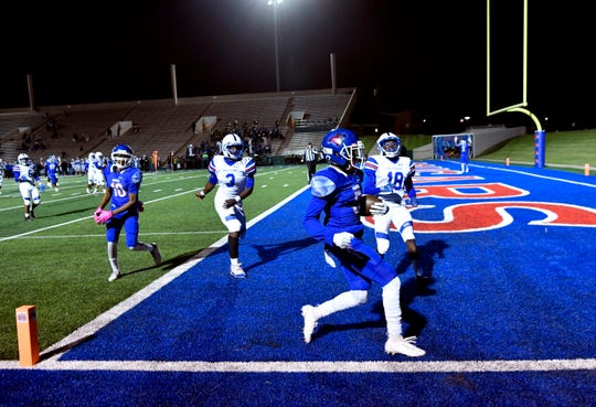 Cougars wide receiver Bryan Spotwood scores a touchdown during Friday's game at Shotwell Stadium between Cooper and Amarillo Palo Duro Oct. 11, 2019. Final score was 42-6, Cooper.