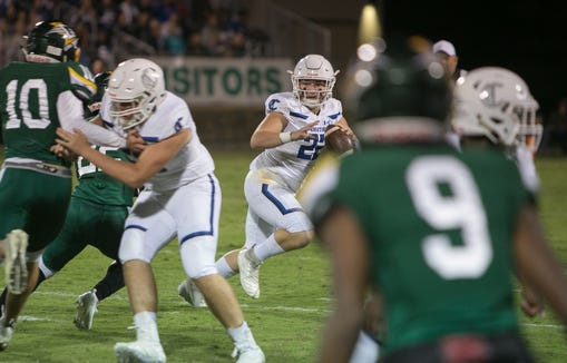 Christ School faces off against Charlotte Christian on Oct. 11, 2019.  Charlotte Christian took the win with a final score of 28-27.