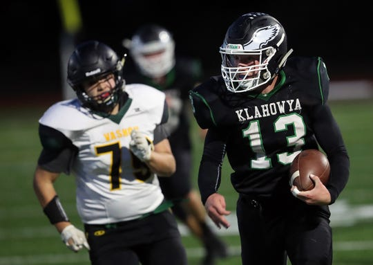 Klahowya junior Hunter Wallis leads the team in rushing yards, touchdowns and total tackles.