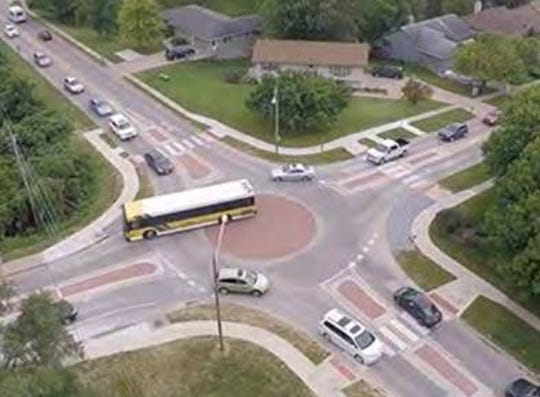 Kitsap County submitted this photo to Road Warrior to demonstrate how large vehicles are intended to navigate the new roundabouts on Ridgetop Boulevard.