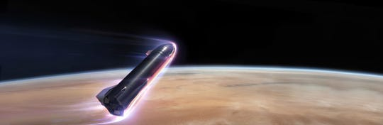 A rendering of SpaceX's stainless steel starship entering Mars' atmosphere.