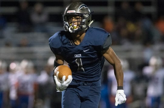 Timber Creek's Tarheeb Still runs the ball during the 1st quarter of the football game between Timber Creek and Millville played at Timber Creek High School on Friday, October 11, 2019.