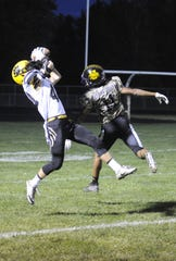 Paint Valley's Cruz McFadden catches a pass during a 41-7 win over Unioto on Friday, Oct. 11, 2019 at Unioto High School in Chillicothe, Ohio.