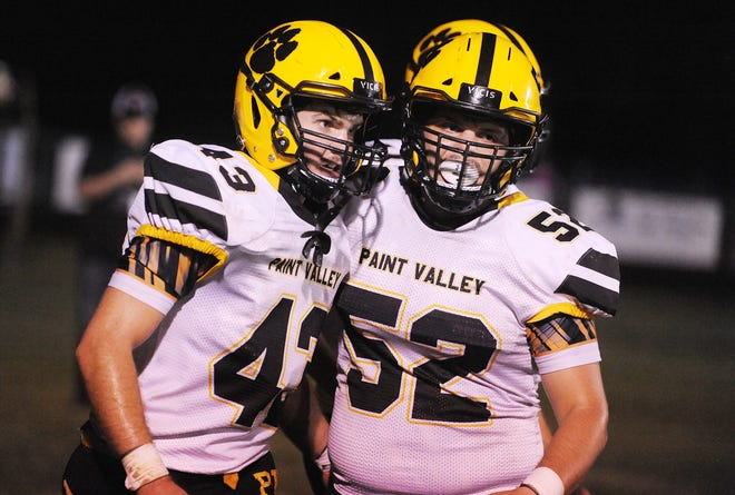 Paint Valley's Brayden Ison and Brock Hill celebrate during a 41-7 win over Unioto on Friday, Oct. 11, 2019 at Unioto High School in Chillicothe, Ohio.