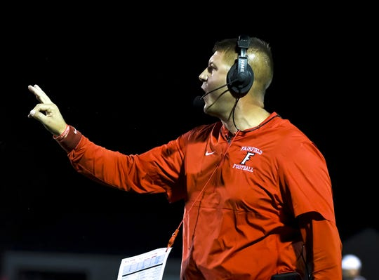 Fairfield Indians head coach Jason Krause calls a play  against the Princeton Vikings at the Skyline Chili Crosstown Showdown on Friday, October 11, 2019, Mancuso Field at Princeton High School