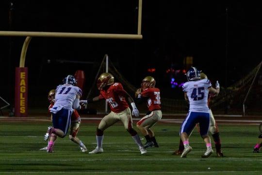 Edison quarterback Matt Yascko looks to pass against Westfield on Oct. 11, 2019.