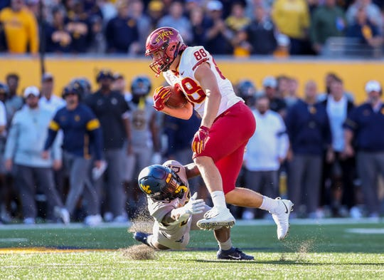 Oct 12, 2019; Morgantown, WV, USA; Iowa State Cyclones tight end Charlie Kolar (88) runs after a catch during the first quarter against the West Virginia Mountaineers at Mountaineer Field at Milan Puskar Stadium.