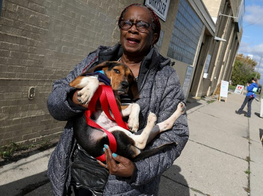 Mr. Chips, a Beagle mix is carried away by his new owner Nannie Hopson, of Detroit after she adopted him during the Bissell Empty The Shelters at the Detroit Animal Care and Control in Detroit, Saturday, October 12, 2019. Over 50 dogs were expected to be adopted out for free during the weekend event.