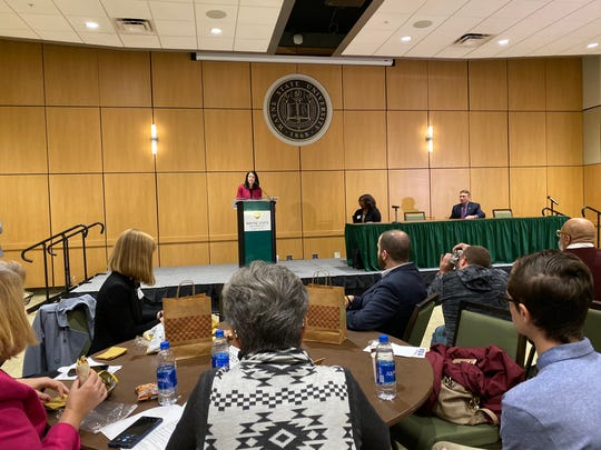 Dana Nessel speaks at FOIA Fest at Wayne State University on Saturday, October 12, 2019.