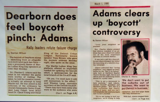This is a March 1, 1986 newspaper article about how Rev. Charles G. Adams led a Dearborn economic boycott that nearly shut down Fairlane Mall and other Dearborn businesses as the City of Dearborn wanted to pass an ordinance making city parks for residents only. Dearborn was 90% white. The ordinance was recended.