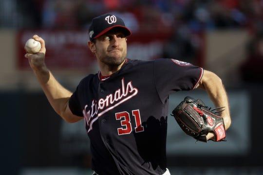 Washington Nationals starting pitcher Max Scherzer throws during the fourth inning on Saturday.