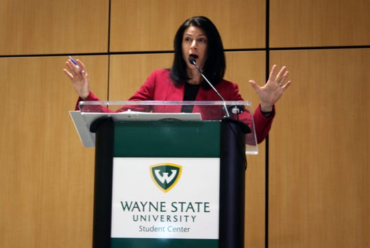 Attorney General Dana Nessel speaks to members of the public and the media at FOIA Fest, an event about the Freedom of Information Act, hosted by the Society for Professional Journalists at Wayne State University on Saturday.