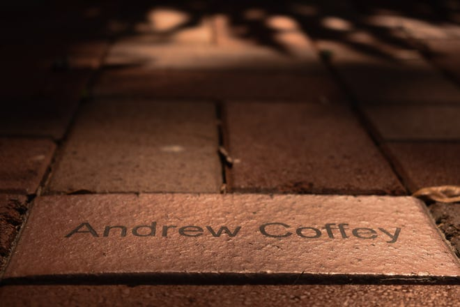 The name of Andrew Coffey, the FSU student whose life was tragically stolen from hazing is inscribed on a brick within FSU's Memorial Garden.