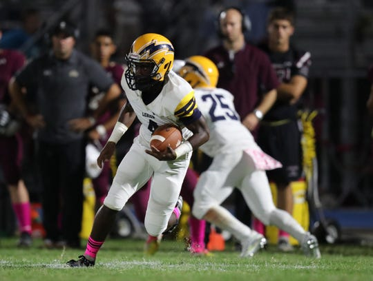 Lehigh's Percy Milledge looks for an opening. Riverdale takes on Lehigh in the Battle for the Bell game on Friday, October 11, 2019, at Riverdale High School.