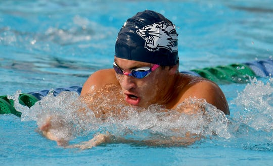 Estero High Schools Antonio Medina during the Lee County Athletic Conference Swimming and Diving Championships at the Lee County/FGCU Aquatic Center in Fort Myers, Saturday, Oct. 12, 2019. (Photo/Chris Tilley)